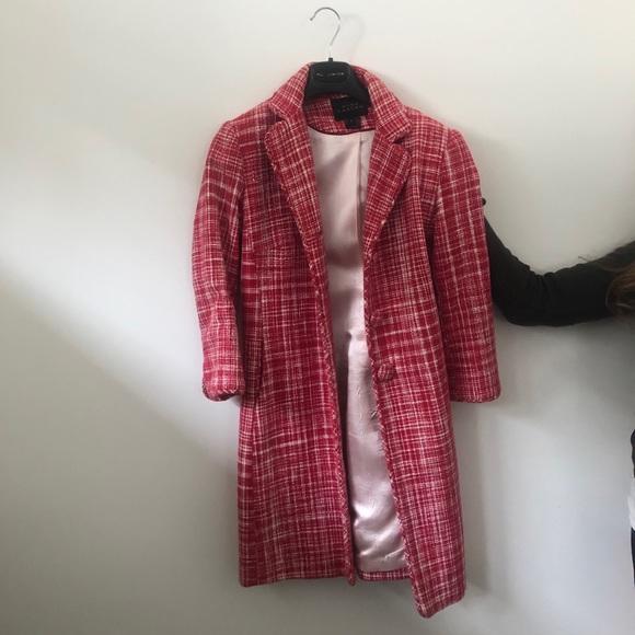 Pink Tartan Pink White and Red Tweed Pea Coat
